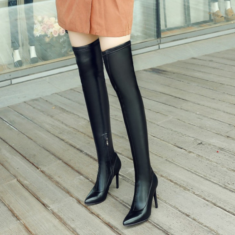 New Autumn Winter Thigh High Boots Women Shoes Sexy Pointed Toe High Heels Women Boots Black Heels Over The Boots lynskey women boots high heels thigh high boots sexy black over knee boots ladies pointed toe boots shoes