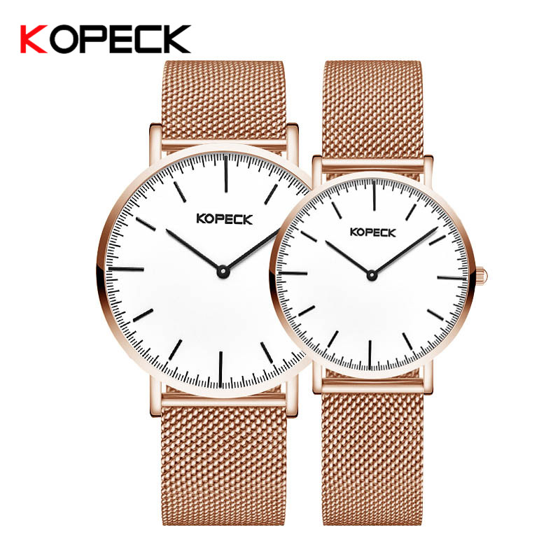 Kopeck Casual Milan Mesh Strap Stainless Steel Couple Quartz Watches Lovers Wristwatch Waterproof Sapphire Crystal Classic Watch