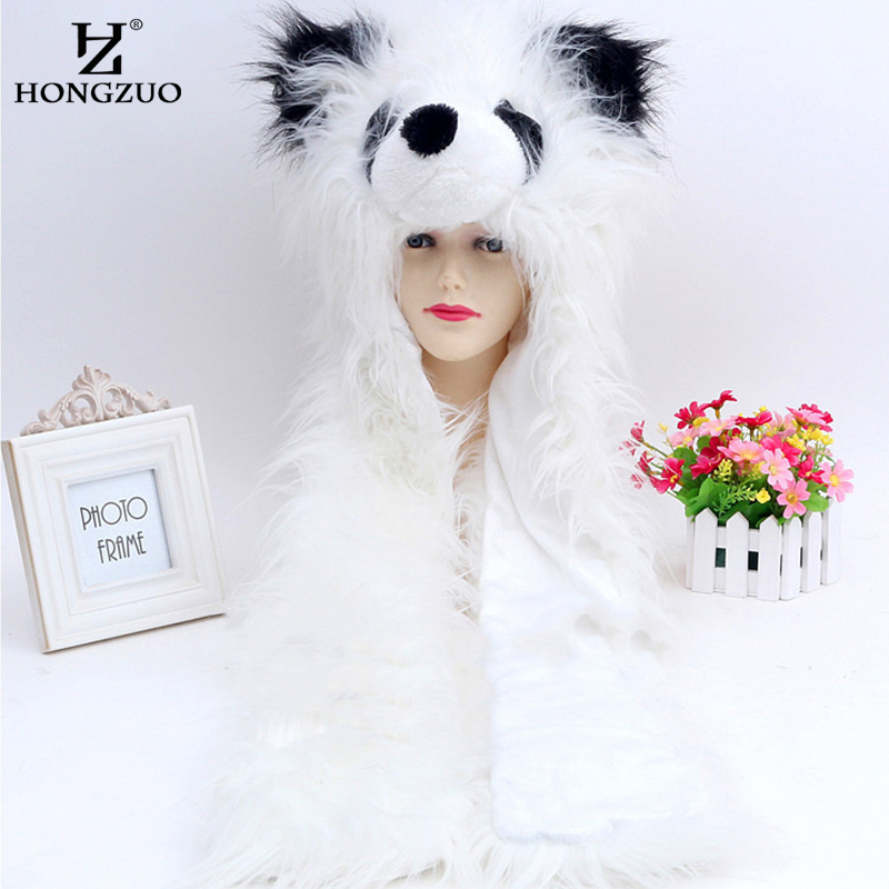 HONGZUO Brand New Character Animal Cap 2016 Winter Fashion Women Warm Faux Fur Scarf, Hat & Glove Sets PC191