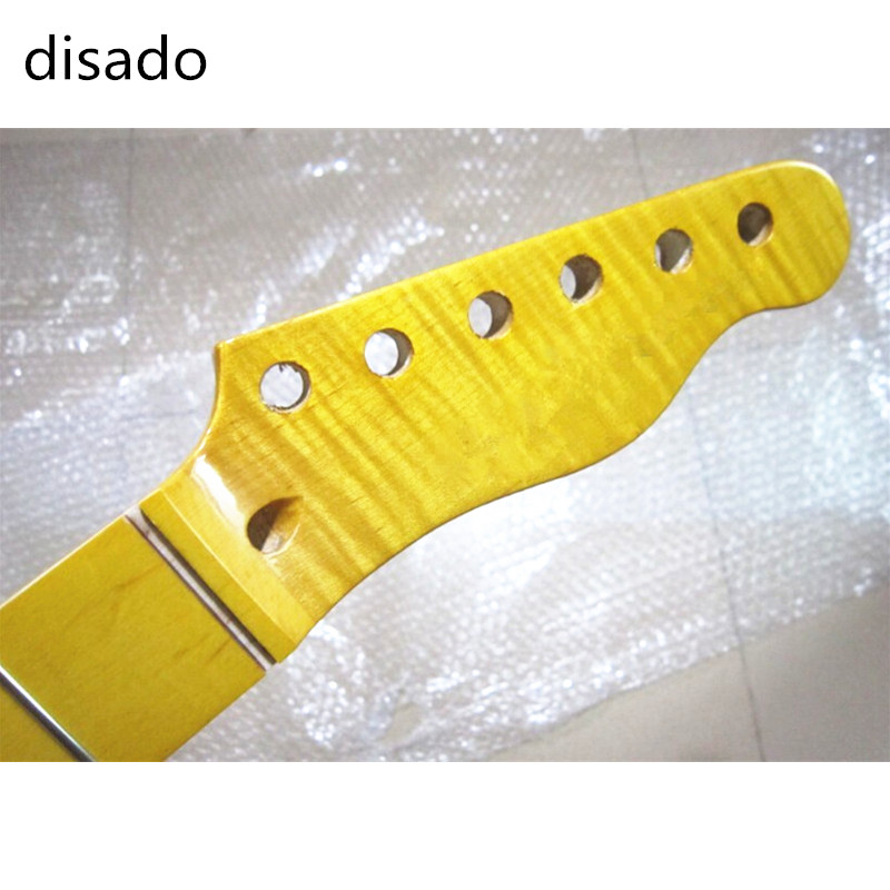 disado 22 Frets Tiger flame maple inlay maple finerboard Yellow Color Electric Guitar Neck Wholesale Guitar Parts accessories lp electric guitar les tiger striped maple cover yellow color paul golden hardware classical 1957 guitar support customization