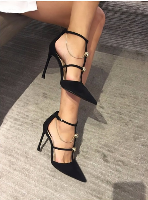 ФОТО Metal Chain decorated pointed toe high thin heel T-shape buckle black red suede sandals for woman in summer size 34-39