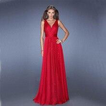 Summer Fashion Backless Bundle Waist V-neck Maxi Dress For Women Elegant Red Vintage