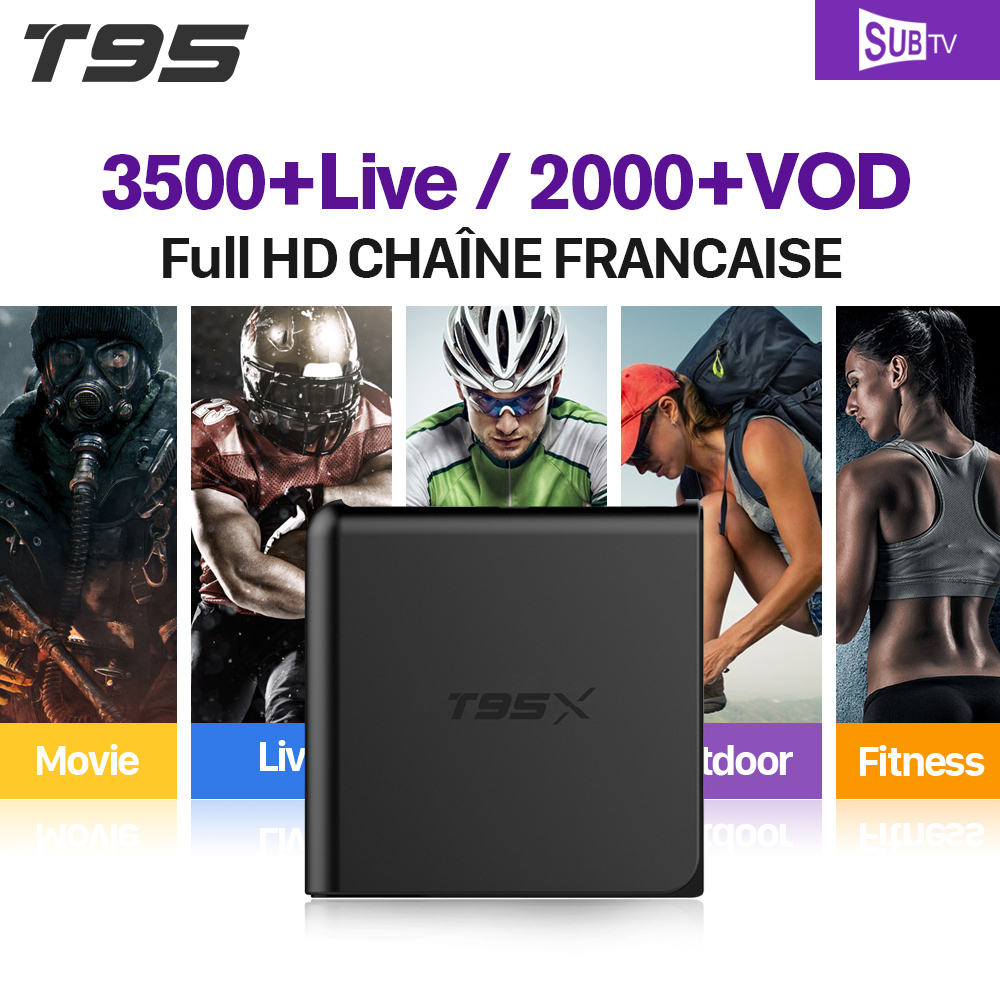 T95X Full HD French IPTV Box Android 6.0 IPTV Receiver 3500+ French IPTV Channels France Arab VIP Sports Live VOD French Movies