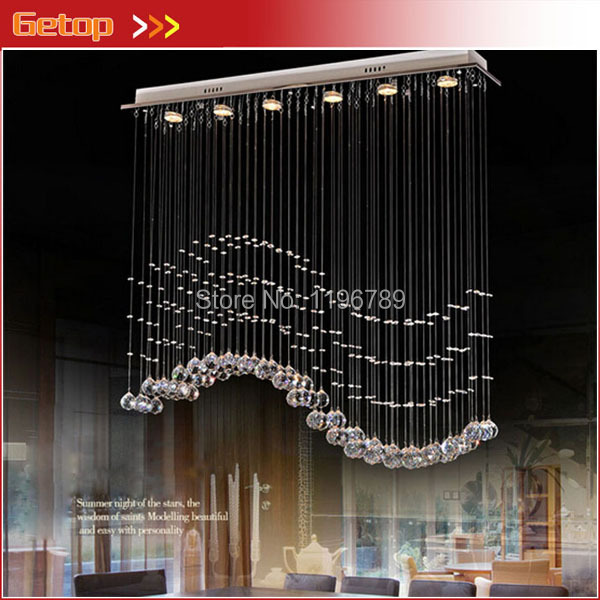 Modern Crystal Chandelier Hanging Wire Crystal Lamps LED Wave Crystal Light  Bar Restaurant Living Room Lights