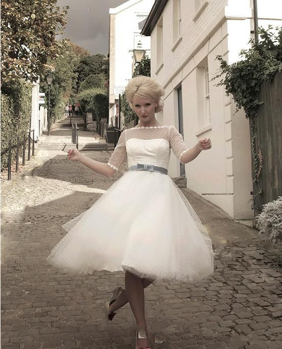 New Vintage Style Half Sleeve Bow Belt Tea Length Tulle Short Wedding Bridal Gown Custom Made Size   Bridesmaid     Dresses