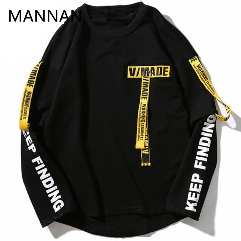 MANNAN t-shirt Harajuku Hommes 3d Chemise Impression Ruban Lettre Harajuku manches longues en coton Punk T-shirt De Mode décontracté hauts T-shirts
