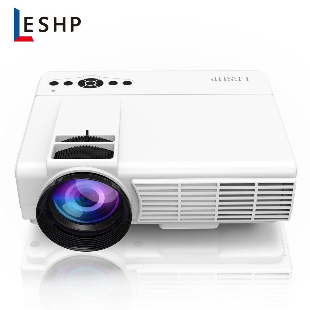 LESHP Q5 led projektör 800*480 piksel 1200LM Mini ev sineması video projektör ev sinema TV dizüstü bilgisayarlar akıllı telefonlar