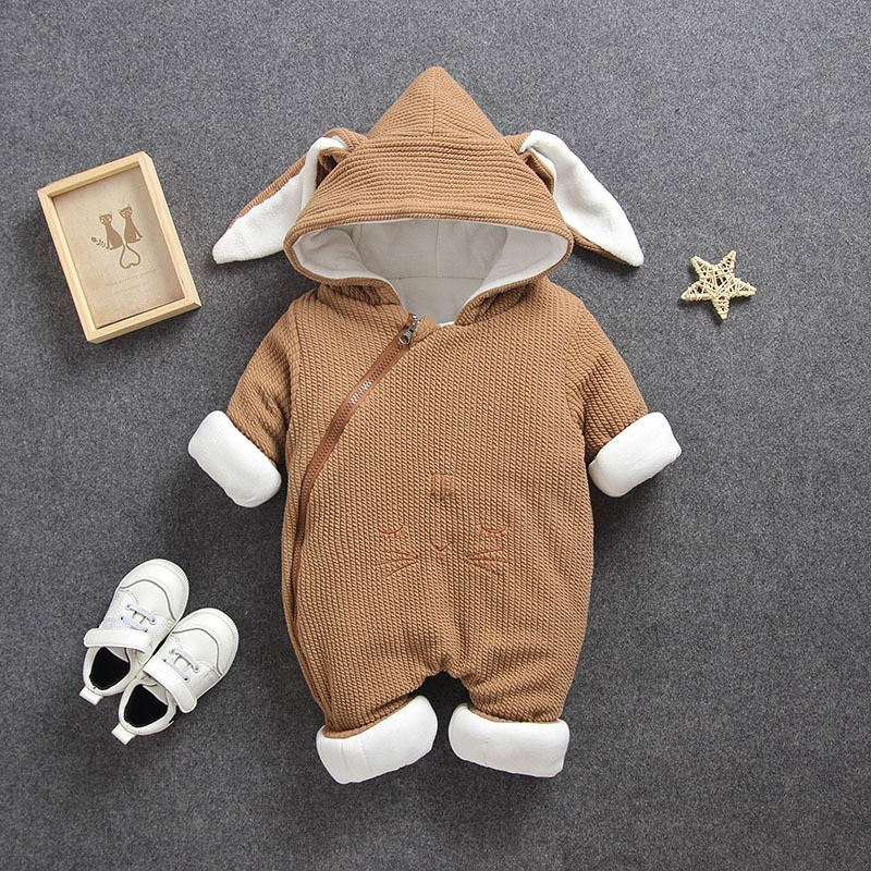 a4015f633bdd 2018 Newborn Cotton Thick soft Hooded Baby girl Clothes Warm Autumn ...