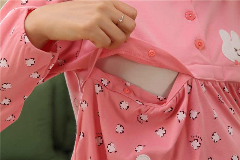 Pregnant-Woman-Pajamas-Postpartum-Breastfeeding-Month-Of-Serving-Lapel-Clothes-Long-sleeve-Sleepwear-Suits-CL0800 (16)