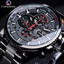 Forsining Sport Male Clock Three Dial Calendar Display Black Stainless Steel Men Automatic Wrist Watch Top Brand Luxury Military forsining tourbillion design genuine leather calendar display obscure dial mens clock top brand luxury automatic wrist watches
