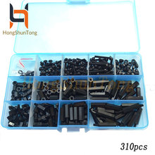 310Pcs/set M3 black Hex Nylon Standoff Spacer Column For PCB Motherboard Fixed Plastic Spacing Screws Set 50pcs m2 m2 5 m3 m4 black hex nylon standoff spacer column flat head double pass nylon plastic spacing screws