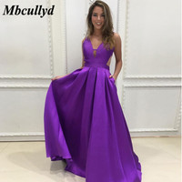 Mbcullyd Purple Long Bridesmaid Dresses 2019 Sexy V neck Women Wedding Party Dress With Pockets Robe De Soiree Custom Made