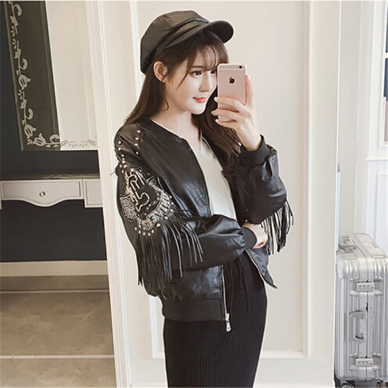 2018 new fashion nail   leather   jacket collar fringed   leather   female Korean fall jacket loose women's baseball
