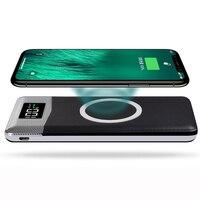 LCD 10000mAh bezprzewodowa ładowarka qi power bank z dwoma portami usb dla iPhone X 8 Samsung S9 ładowarka Powerbank bezprzewodowa podstawka ładująca w Ładowarki do telefonów komórkowych od Telefony komórkowe i telekomunikacja na