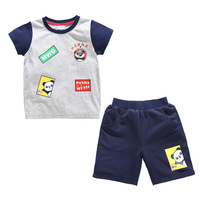 Boy set cotton children short sleeve T shirt baby shorts two piece set
