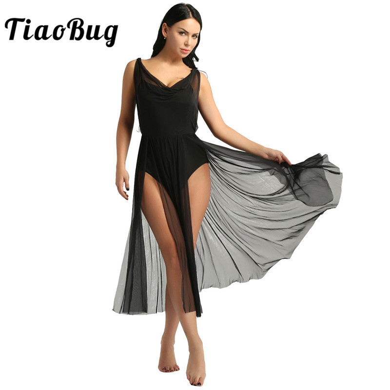 <font><b>TiaoBug</b></font> New Women Mesh Ballet Tutu Dress Built In Shelf Bra Leotard Adult Gymnastics Leotard Contemporary Lyrical Dance Costumes image