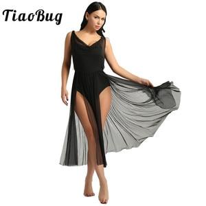 Image 1 - TiaoBug New Women Mesh Ballet Tutu Dress Built In Shelf Bra Leotard Adult Gymnastics Leotard Contemporary Lyrical Dance Costumes