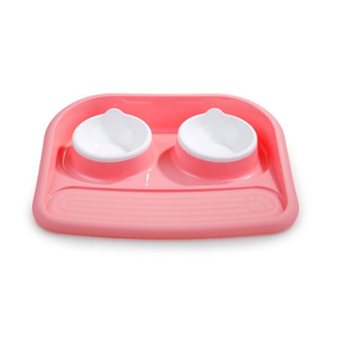 environmental protection food grade plastic bone type double bowl pet bowl splashproof dog bowl dog cat food bowl