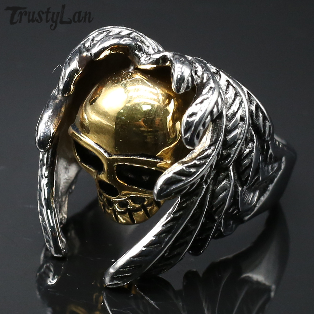 Size 7-14 Stainless Steel Skull Cross Biker Ring Gold Plated Cocktail Party