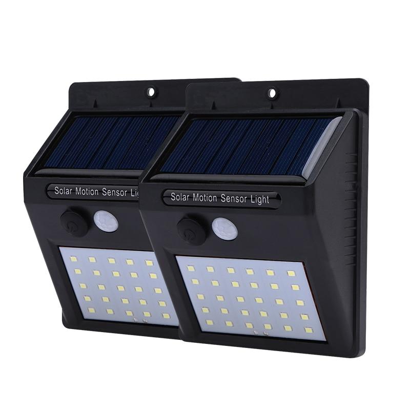 2 unids PCs 30 Leds luz Solar PIR Sensor de movimiento al aire libre impermeable decoración de jardín de seguridad nocturna luz LED lámpara de energía Solar