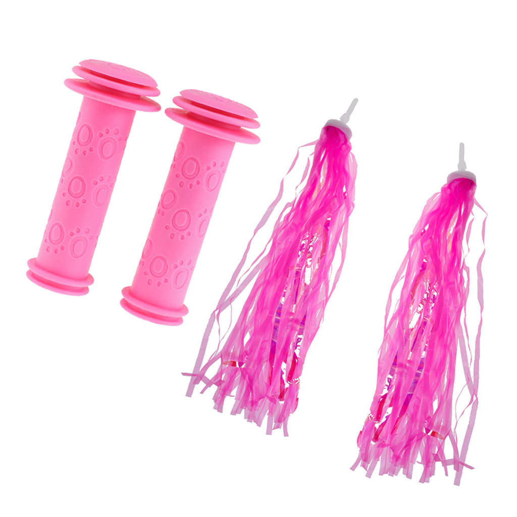 1 Pair Pink Bicycle Non Slip Rubber Handlebar Grip+Girls Bike Streamers Tricycle Handlebar Tassels For Kids Gift Cycling Decors