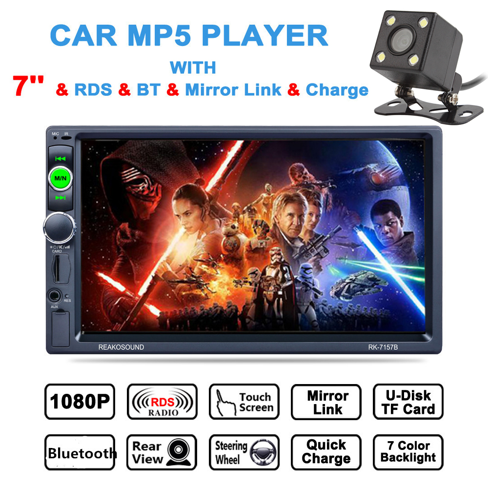 7 дюймов 2 DIN Bluetooth Авто стерео видео плеер HD сенсорный экран AM FM RDS радио Suppor USB Зеркало Ссылка Aux в + сзади камера