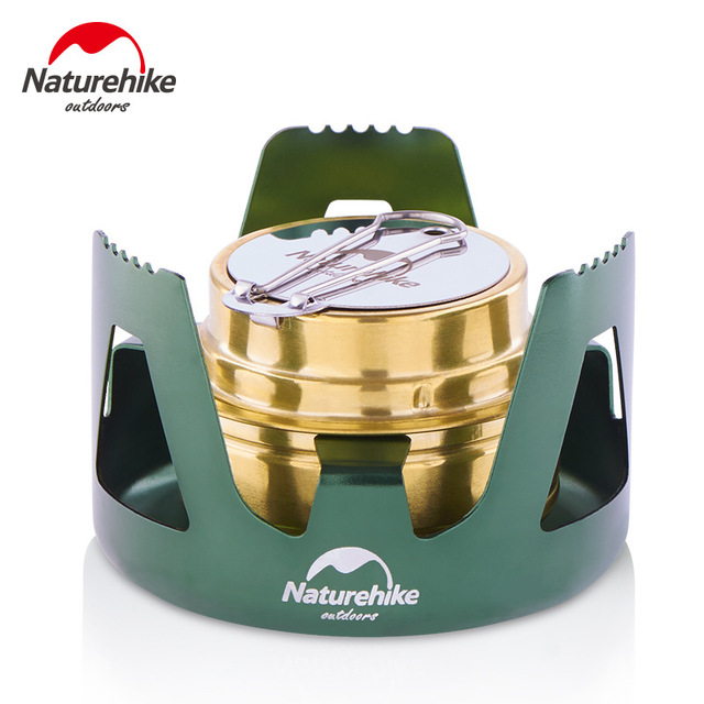 Naturehike Portable Alcohol Stove Mini Ultralight Camping Stove Burner With Stove Rack Support For Outdoor Cooking BBQ Picnic