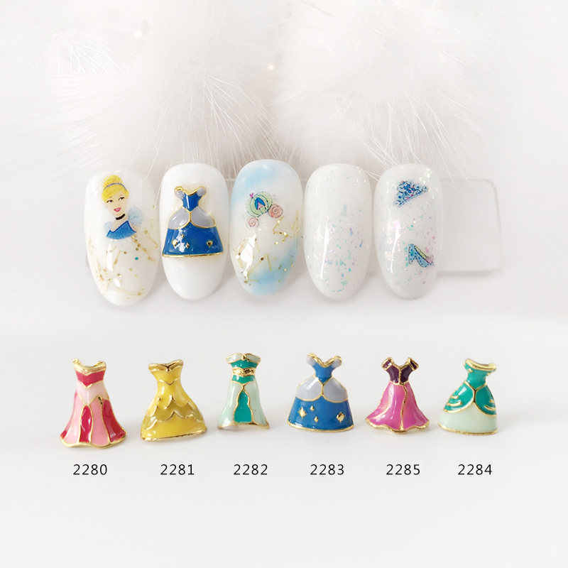 HOT 20pcs 3D alloy Nail art Decoration Princess dress skirt series nail Accessories Japanese retro Manicure Charms