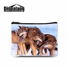 Dispalang fashion designer women wallets cool wolf print children wallet card holder/case bag mini purse zip wallet coin pouch