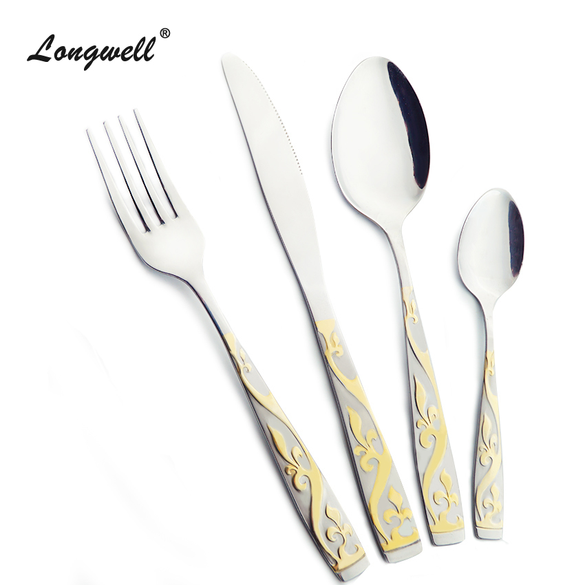 Cheap Dinnerware Set Gold Plated Dinner Set Fork Knife 24