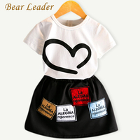 Bear Leader Girls Clothing Sets 2017 Fashion Summer Style Children Clothing Short Shirt+Printing Skirts 2Pcs for Girls Clothes