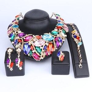 Image 4 - Ouheファッションインディアンジュエリーボヘミアクリスタルネックレスセットブライダルジュエリー花嫁パーティーウェディングアクセサリーデコレーション