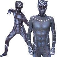 Kids Adult Black Panther Cosplay Costume Civil War American Captain Cosplay Superhero Cosplay Jumpsuit Fancy Zentai Suit+Mask