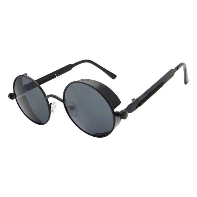 Rétro Vintage Steampunk Lunettes de soleil Revêtement Miroir Cercle rond Femmes Hommes Sunglasses Sl1cW3P6