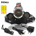T6 LED Headlamp 8000 Lumens 4 Mode LED Headlight Led USB Power bank Rechargeable Hunting Head Light 18650 Charger+1*USB