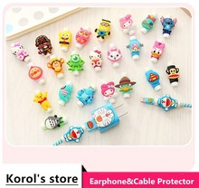 50pcs lot USB cable Earphones Protector colorful Cover For iphone android cable Data Line Protection sleeve