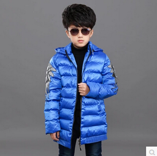 HOT 2016 Winter boy C pure color turtleneck cotton padded clothes Leisure zipper unlined upper garment