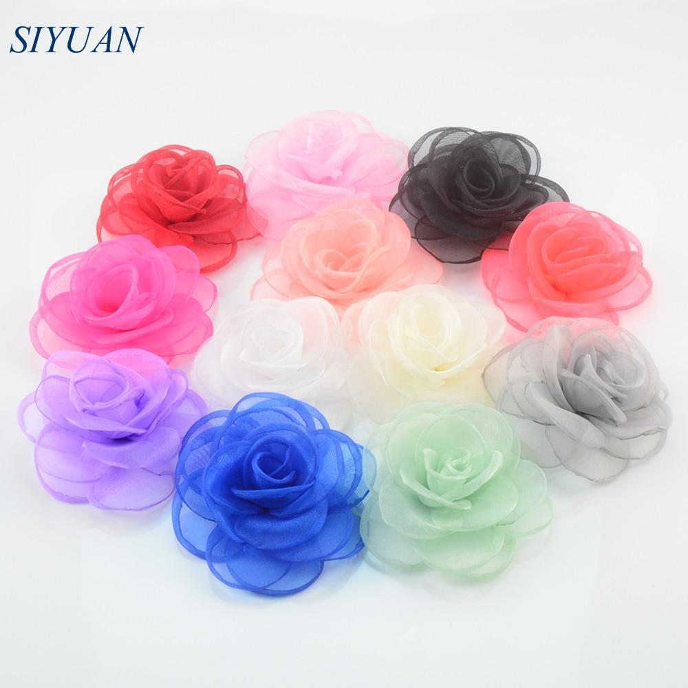 ᐅ200pcs/lot 12color 9cm Artificial Burned Silk Gauze Fabric Rose ...