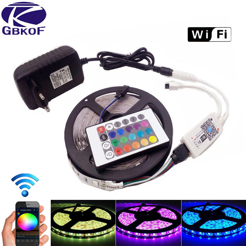 5m 10m 15m 20m RGB LED Strip wifi neon light waterproof dc 12v SMD 5050 stripe 60led/m 3528 diode Flexible Led tape+control+plug 5m 10m rgb led smd 2835 3528 5050 led strip light wifi led stripe flexible neon ribbon waterproof led tape diode dc 12v adapter