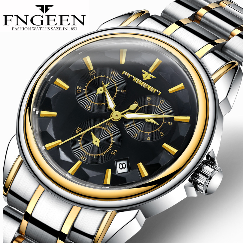 FNGEEN Automatic Watch Men Mechanical Watches With Date Luminous Male Clock 6603 montre automatique homme zegarek meski fngeen automatic watches waterproof leather rose gold mechanical watch men male clock luminous montre automatique homme relogio