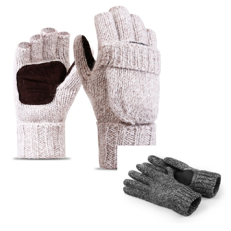 Winter/Autumn Skiing Wool Gloves Men/Women Outdoor Thermal Full Finger Flip Sports Cover-Thicker Gloves for Breathable & Warmer