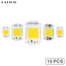 LATTUSO 10 PCS COB LED Lamp Chip 50W 40W 30W 20W 10W Bulb 220V 110V IP65 Smart IC For DIY Flood Light Spotlight