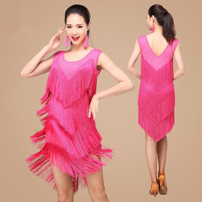 2017 New tassels Women Latin Dance dress Salsa Cha Cha Tango Dress