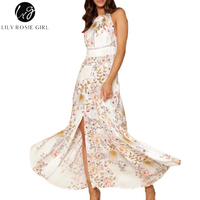 Lily Rosie Girl Women 2017 Beige Off Shoulder Sashes Sexy Boho Summer Maxi Dress Hollow Out