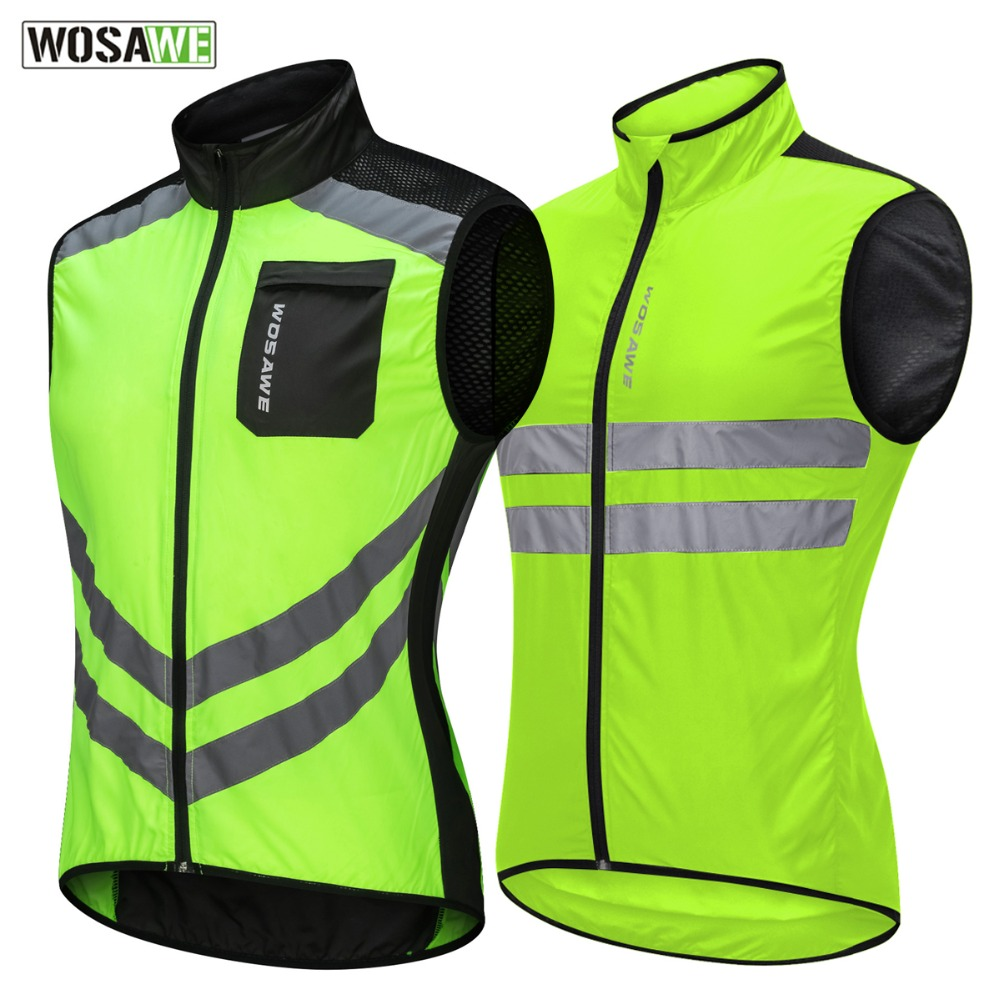 WOSAWE Motorcycle Reflective Vest High Visibility Motocross Riding Off-Road Safety Vest Night Running Cycling Sports Jacket