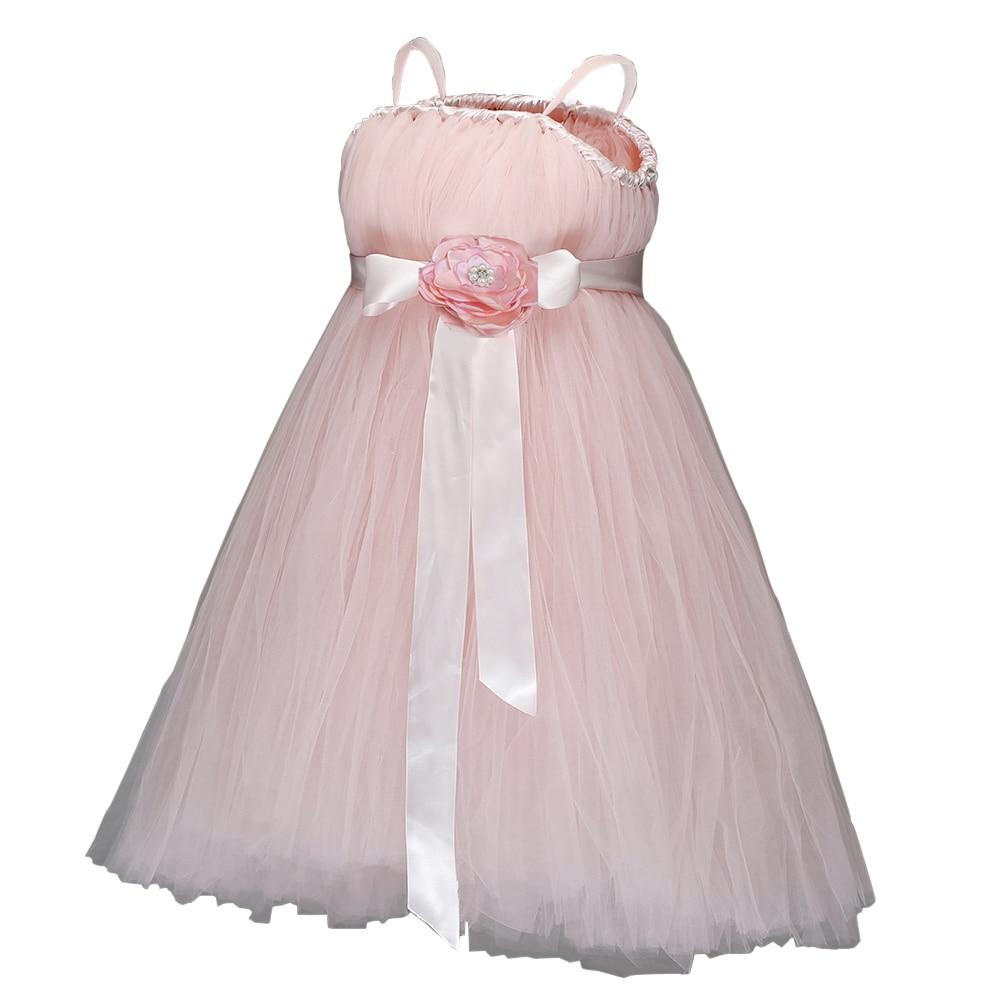 Pink Princess Dress Girls Wedding Junior Bridesmaid Party Dress Flower Girl Sleeveless Solid Tutu Dress Robe with Flower Sashes