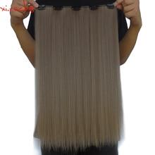 5 шт./лот Xi. rocks 5 заколки для наращивания волос 20 дюймов волосы синтетические на зажимах для наращивания 50 г прямые волосы песочный серо-коричневый 68
