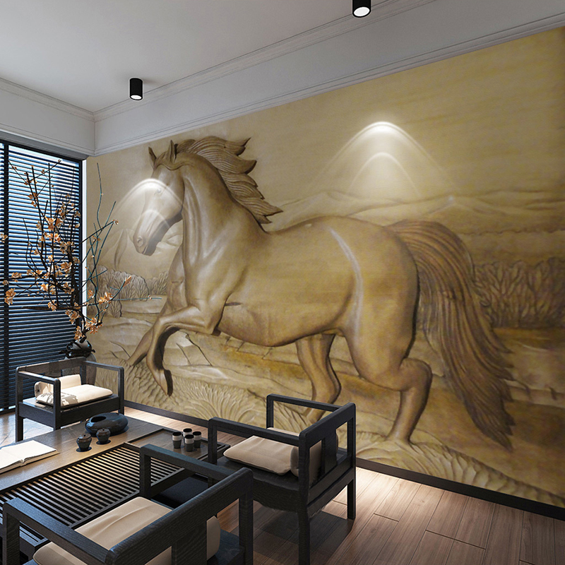 Custom Any Size 3D Stereoscopic Relief Horse Background Photo Wallpaper For Living Room Sofa Bedroom Wall Art Mural De Parede 3D