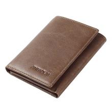 Genuine Leather Wallet For Men's Trifold Men Wallets ID Window Credit Card Case Holder Hasp Casual Men's Slim Wallet Credit Card