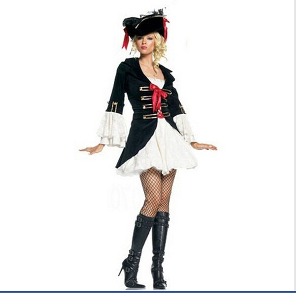 New Arrival Show Dress Sexy Black Pirate Costume Queen Cosplay Halloween Adult Costume Fancy Dress With Hat Clubwear Wholesales Punctual Timing Costumes & Accessories